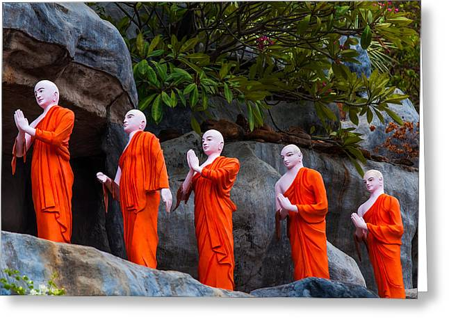 Ceylon Greeting Cards - Statues of the Buddhist Monks at Golden Temple Greeting Card by Jenny Rainbow