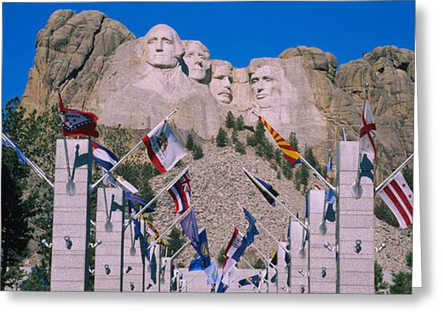 American Flag Photography Greeting Cards - Statues On A Mountain, Mt Rushmore, Mt Greeting Card by Panoramic Images
