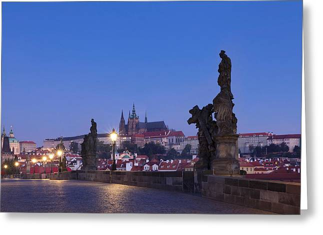 Royal Palace Greeting Cards - Statues On Charles Bridge With Castle Greeting Card by Panoramic Images