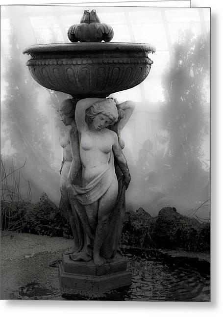 Conservatory Garden Greeting Cards - Stature In The Mist Greeting Card by Garry Gay