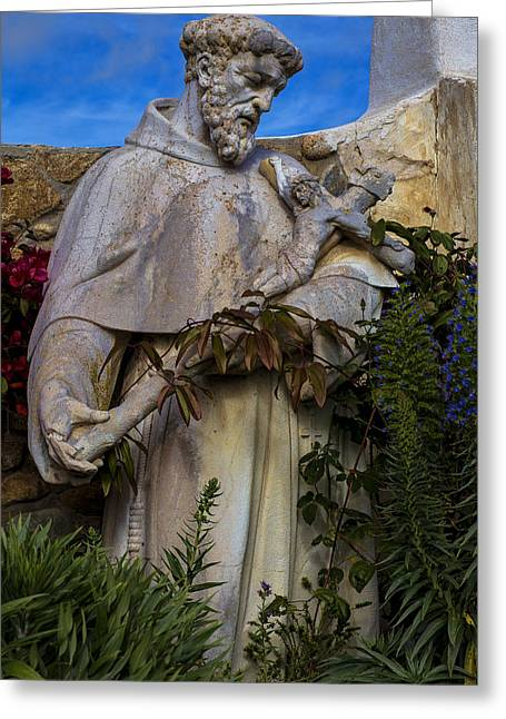 Life-size Greeting Cards - Stature of Father Junepero Serra  Greeting Card by Garry Gay