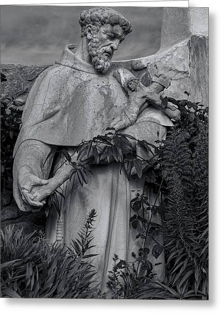 Franciscans Greeting Cards - Stature of Father Junepero Serra  in black and white Greeting Card by Garry Gay