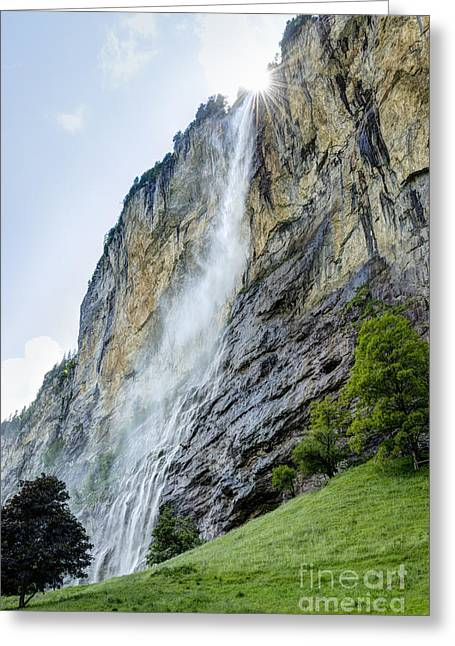 Berne Canton Greeting Cards - Staubbach Falls in the Lauterbrunnen Valley Switzerland Greeting Card by Oscar Gutierrez