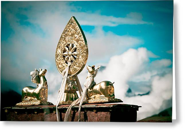 Tibetan Buddhism Greeting Cards - Stautes Of Deer and Golden Dharma Wheel Greeting Card by Raimond Klavins