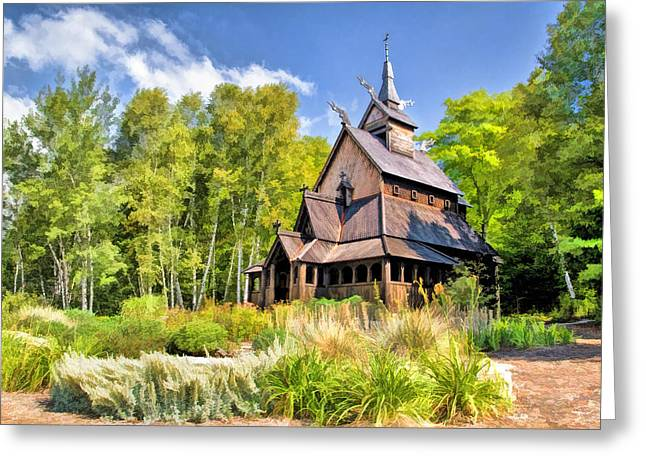 Country Church Greeting Cards - Stavkirke Church on Washington Island Door County  Greeting Card by Christopher Arndt