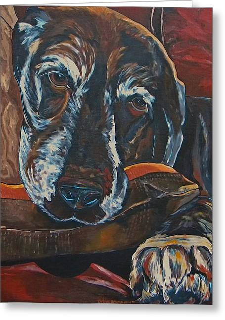 Dog On Couch Greeting Cards - Stax Greeting Card by Patti Schermerhorn