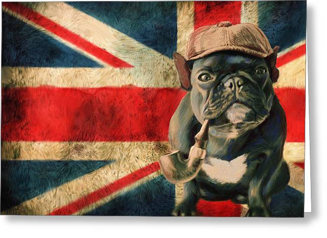 Bulldog Pet Portraits Greeting Cards - Stay Calm and Carry ON Greeting Card by Enzie Shahmiri