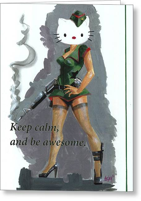 Keep Calm Paintings Greeting Cards - Stay calm Kitty Greeting Card by Luis  Navarro
