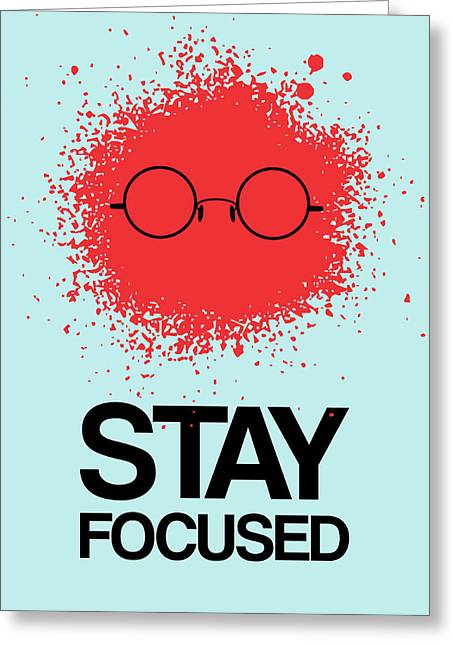 Vinyl Greeting Cards - Stay Focused Splatter Poster 1 Greeting Card by Naxart Studio