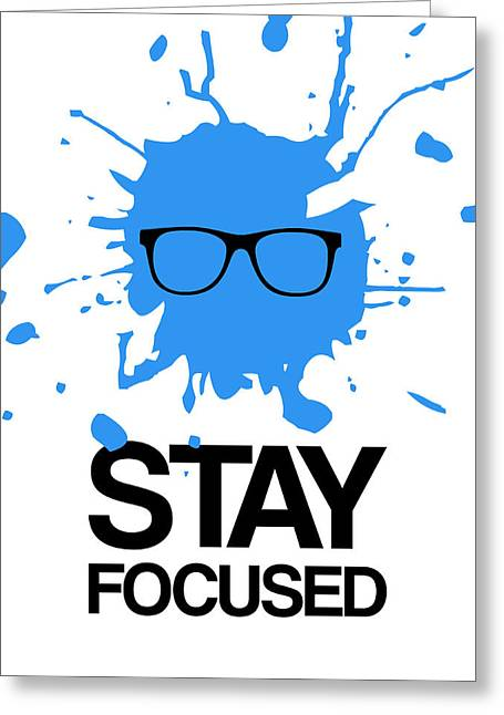 Vinyl Greeting Cards - Stay Focused Splatter Poster 2 Greeting Card by Naxart Studio