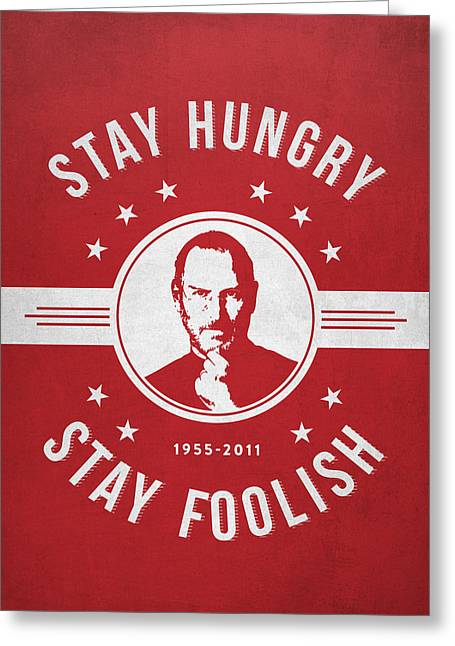 Macintosh Greeting Cards - Stay Hungry Stay Foolish - Red Greeting Card by Aged Pixel