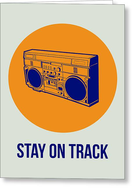 Vinyl Greeting Cards - Stay On Track BoomBox 1 Greeting Card by Naxart Studio