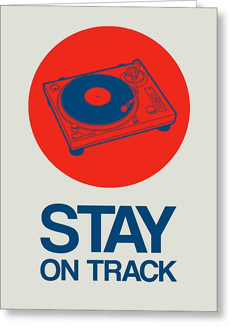 Funny Greeting Cards - Stay On Track Record Player 1 Greeting Card by Naxart Studio