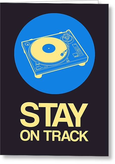 Vinyl Greeting Cards - Stay On Track Record Player 2 Greeting Card by Naxart Studio