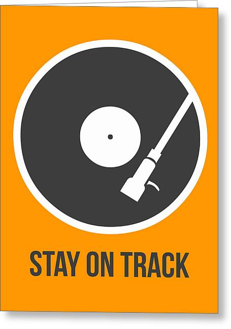 Funny Greeting Cards - Stay On Track Vinyl Poster 1  Greeting Card by Naxart Studio