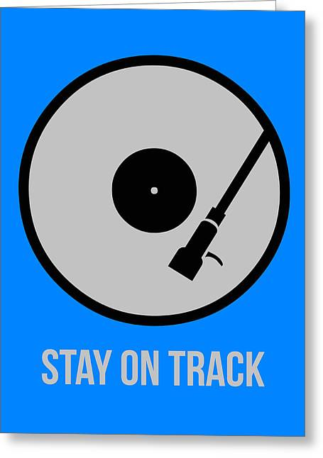 Funny Greeting Cards - Stay On Track Circle Poster 1 Greeting Card by Naxart Studio