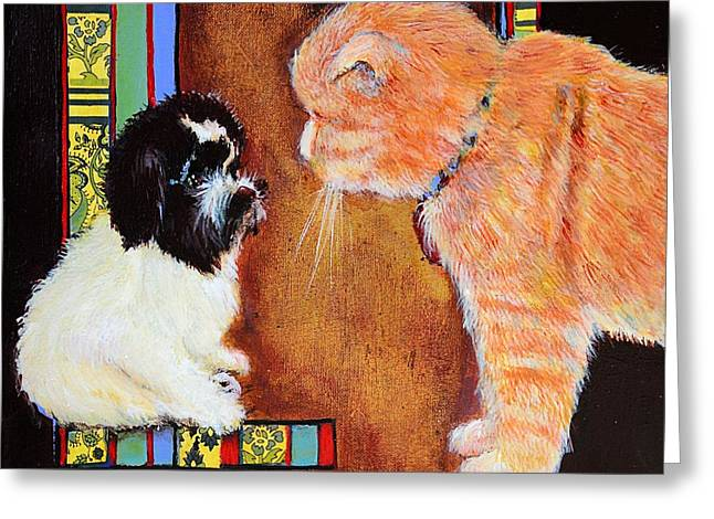Cute Havanese Greeting Cards - Stay out of my Litter Box Greeting Card by JAXINE Cummins