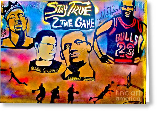 Lakers Paintings Greeting Cards - Stay True 2 the Game no 1 Greeting Card by Tony B Conscious