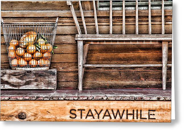Recently Sold -  - Wooden Stairs Greeting Cards - StayAWhile Greeting Card by Diana Sainz