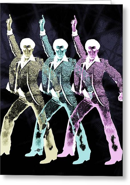 Disco Mixed Media Greeting Cards - Stayin Alive Pop 3 Black Greeting Card by Tony Rubino