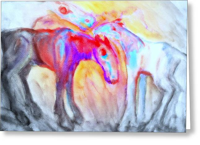 Sweating Paintings Greeting Cards - Staying Alive Greeting Card by Hilde Widerberg