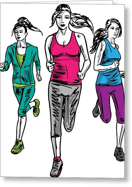 Jogging Greeting Cards - Staying Fit Is Why Women Run Greeting Card by Stanley Mathis
