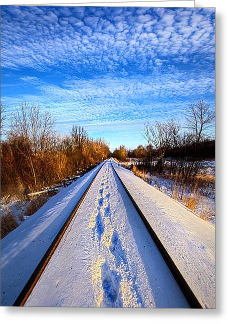 Train Photography Greeting Cards - Staying Within the Lines Greeting Card by Phil Koch