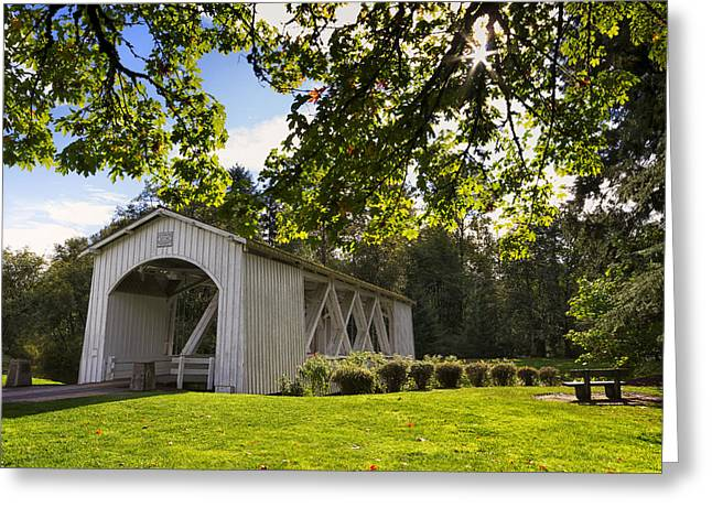 Jordan Greeting Cards - Stayton-Jordan Covered Bridge Greeting Card by Mark Kiver