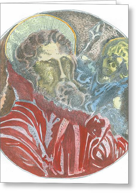 Saint Christopher Paintings Greeting Cards - St.Christopher 7 Q Greeting Card by Marko Jezernik