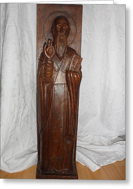Wood Carving Reliefs Greeting Cards - St.Clement of Ohrid Greeting Card by Antoni Golabovski