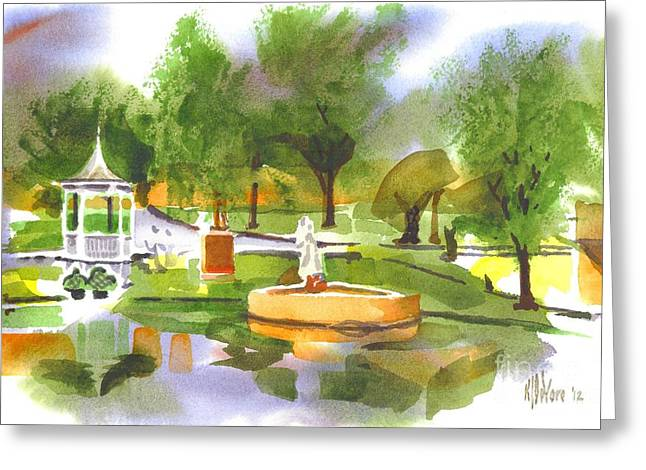 Foggy Day Greeting Cards - Ste Marie du Lac in Watercolor II Greeting Card by Kip DeVore