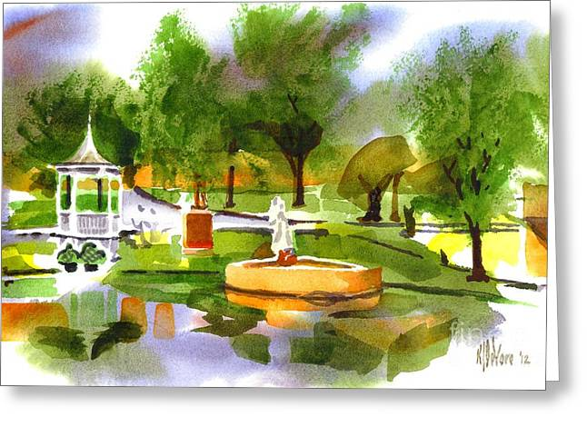 Reflection On Pond Greeting Cards - Ste Marie du Lac in Watercolor IIb Greeting Card by Kip DeVore