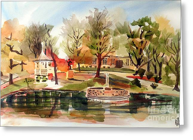 Autumn Scenes Greeting Cards - Ste. Marie du Lac with Gazebo and Pond I Greeting Card by Kip DeVore