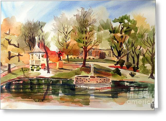 Picturesque Mixed Media Greeting Cards - Ste. Marie du Lac with Gazebo and Pond II Greeting Card by Kip DeVore