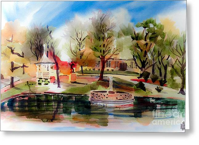 Picturesque Mixed Media Greeting Cards - Ste. Marie du Lac with Gazebo and Pond III Greeting Card by Kip DeVore