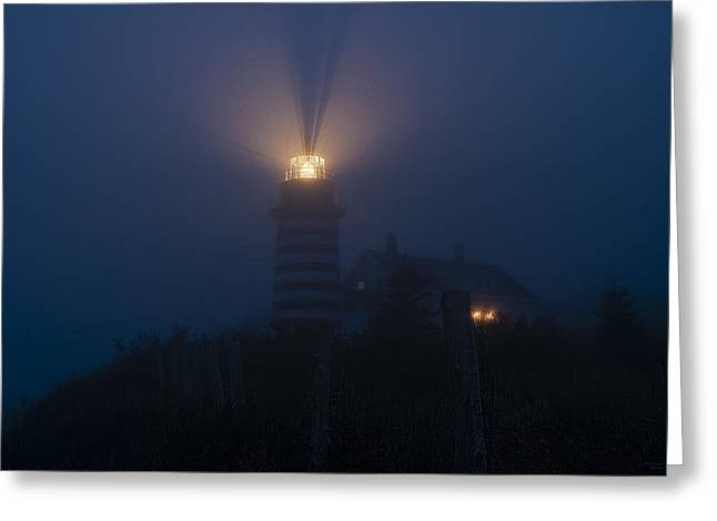 West Quoddy Head Lighthouse Greeting Cards - Steadfast Light Greeting Card by Marty Saccone