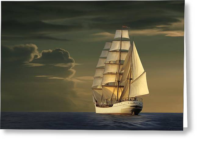 Historic Schooner Greeting Cards - Steadfast Voyage Greeting Card by James Charles