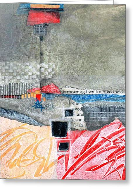 Gray And Red Greeting Cards - Steady as She Goes Greeting Card by Laura  Lein-Svencner