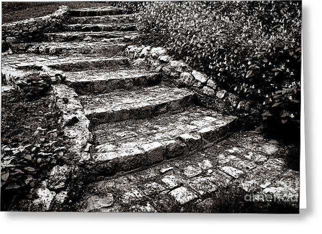 Stairways Greeting Cards - Steady Stone stairs Greeting Card by Olivier Le Queinec