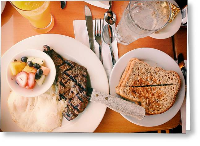 Toast Greeting Cards - Steak and Eggs for Breakfast Greeting Card by Mountain Dreams