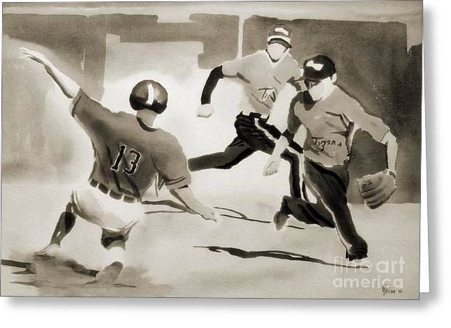 Baseball Art Greeting Cards - Stealing Second BW Greeting Card by Kip DeVore