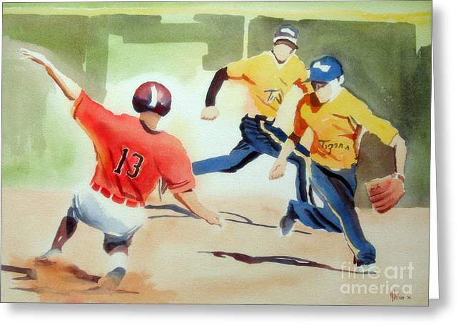 Baseball Art Greeting Cards - Stealing Second Greeting Card by Kip DeVore