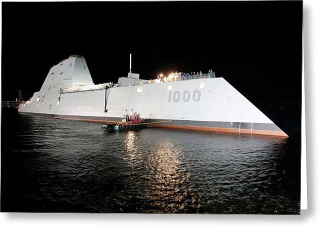 Stealth Guided-missile Destroyer Greeting Card by U.s. Navy Courtesy Of General Dynamics