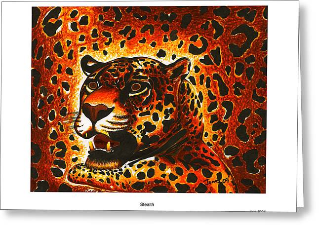 Leopard Drawings Greeting Cards - Stealth Greeting Card by Jonas Jeque
