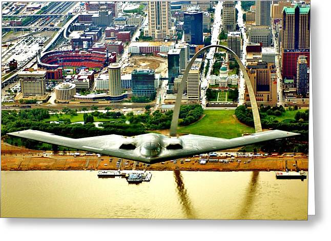 Jet Greeting Cards - Stealth St Louis Greeting Card by Benjamin Yeager