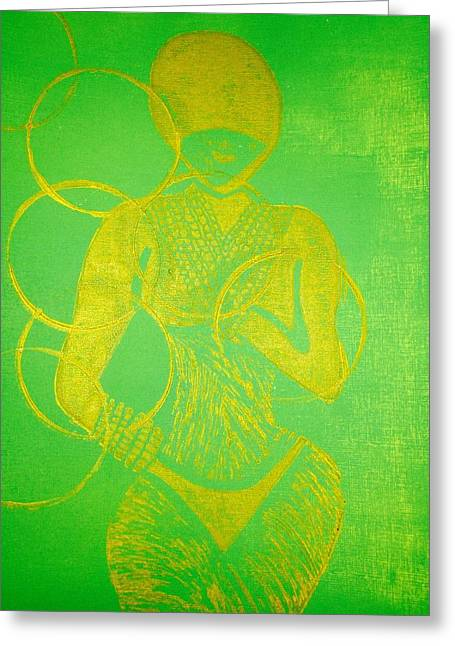Green Abstract Reliefs Greeting Cards - Stealth  Greeting Card by Tarynn Jackson