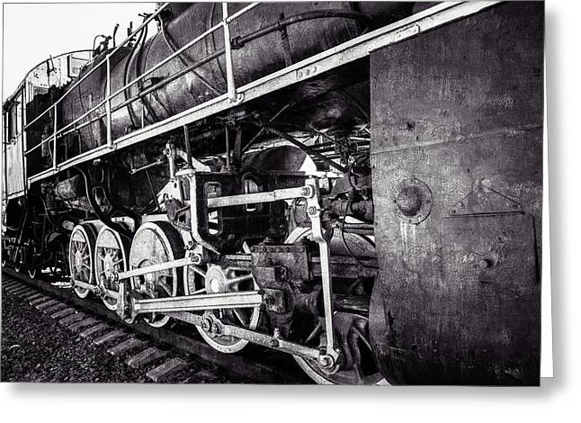 Puffer Greeting Cards - Steam And Iron - Iron Horse - Black And White Greeting Card by Alexander Senin