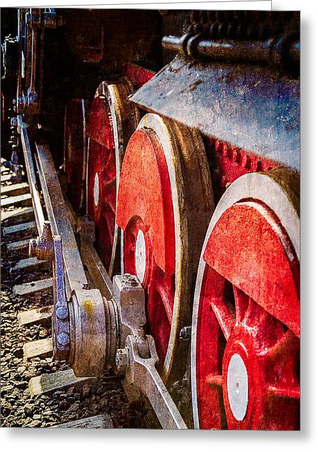 White Steamer Photos Greeting Cards - Steam And Iron - Rods And Wheels Greeting Card by Alexander Senin