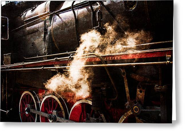 White Steamer Photos Greeting Cards - Steam And Iron - Steam Power Greeting Card by Alexander Senin