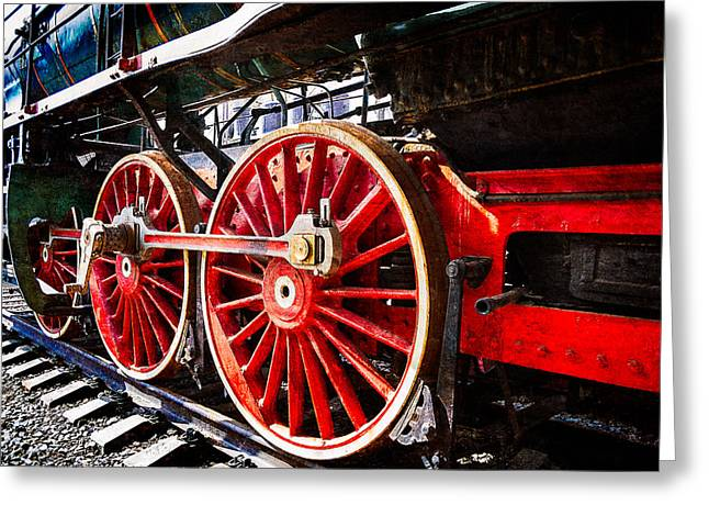 Steam And Iron - Wheels Of Steel Greeting Card by Alexander Senin